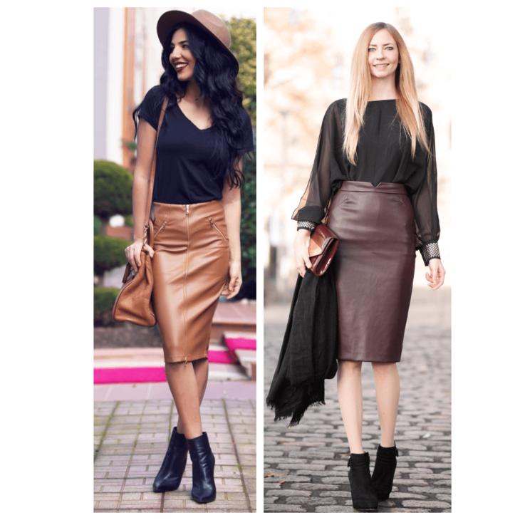 коричневая юбка карандаш с черной майкой