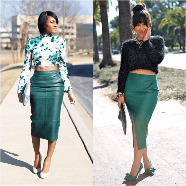 зеленая юбка карандаш с черным свитером