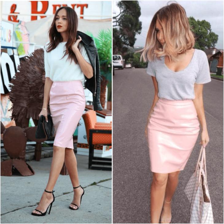 розовая юбка карандаш с серой майкой