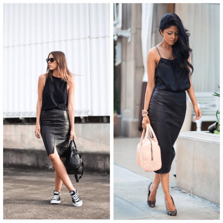 черная кожаная юбка с топиком и кедами