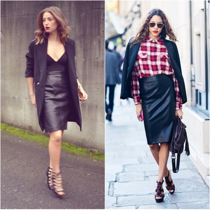 черная кожаная юбка с черным пиджаком