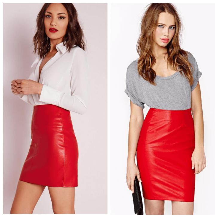 красная кожаная юбка карандаш с белой рубашкой