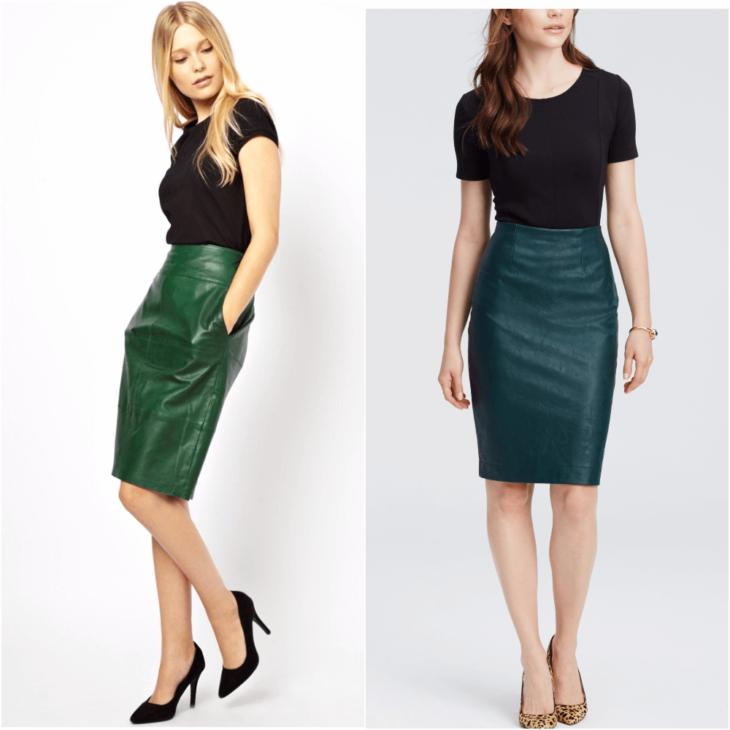 зеленая юбка карандаш с черной майкой