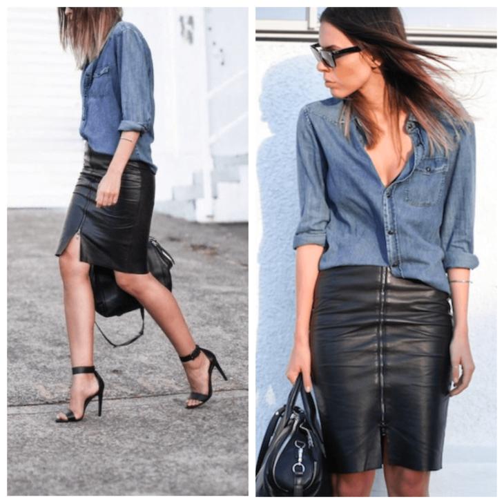кожаная юбка карандаш с джинсовой рубашкой и босоножками