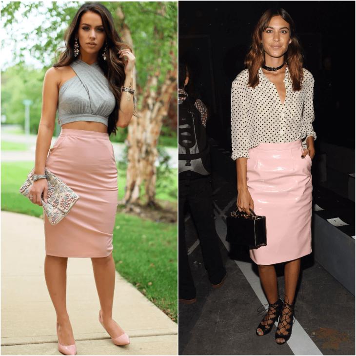 розовая юбка карандаш с рубашкой