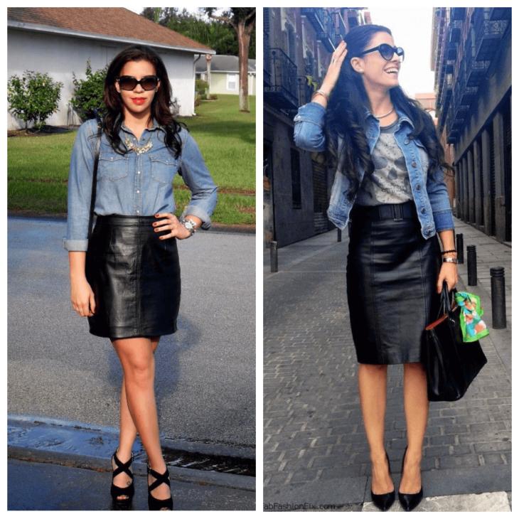 кожаная юбка карандаш с джинсовой рубашкой и майкой
