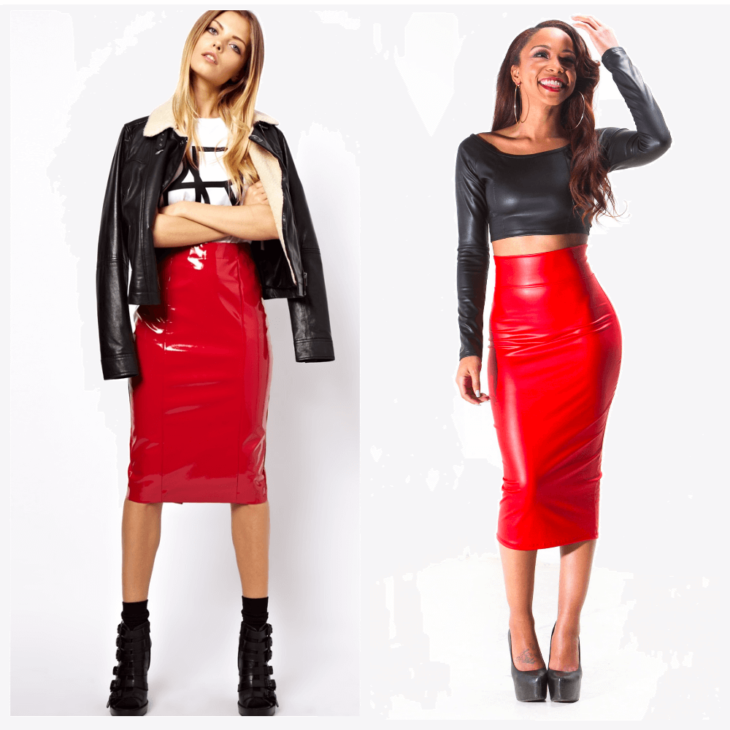 красная кожаная юбка карандаш с кожаной курткой