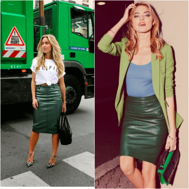 зеленая юбка карандаш с белой майкой