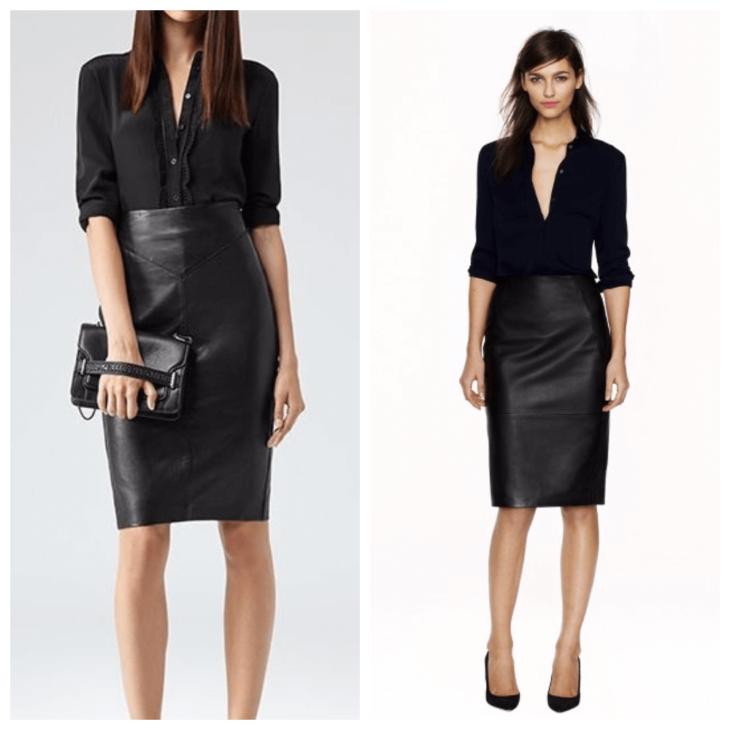 черная кожаная юбка с черной рубашкой и клатчем