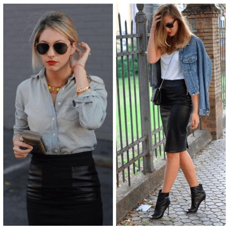 черная кожаная юбка карандаш с джинсовой рубашкой и клатчем