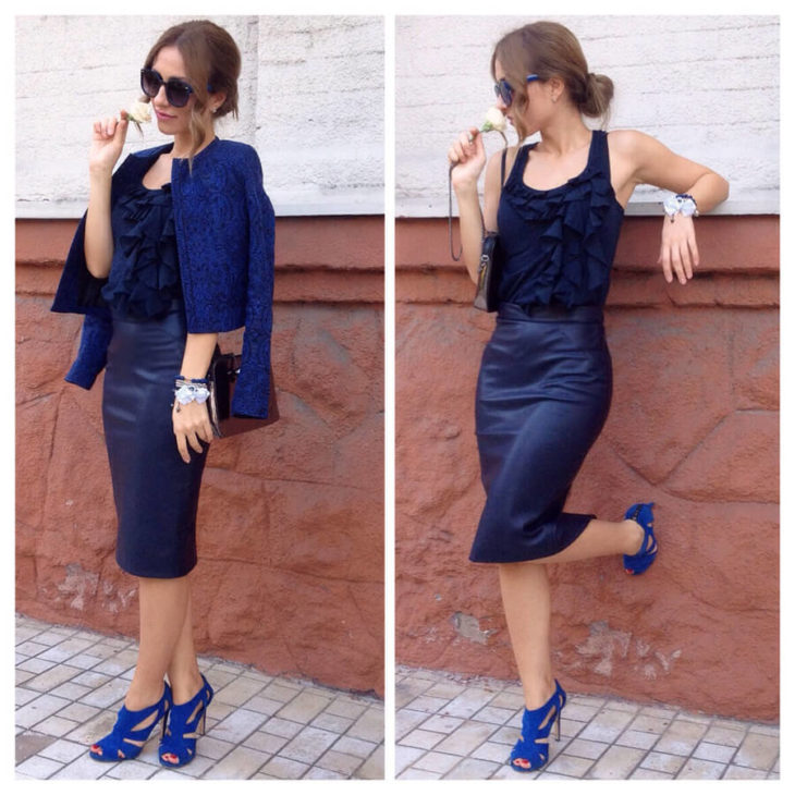 синяя юбка карандаш с синим пиджаком
