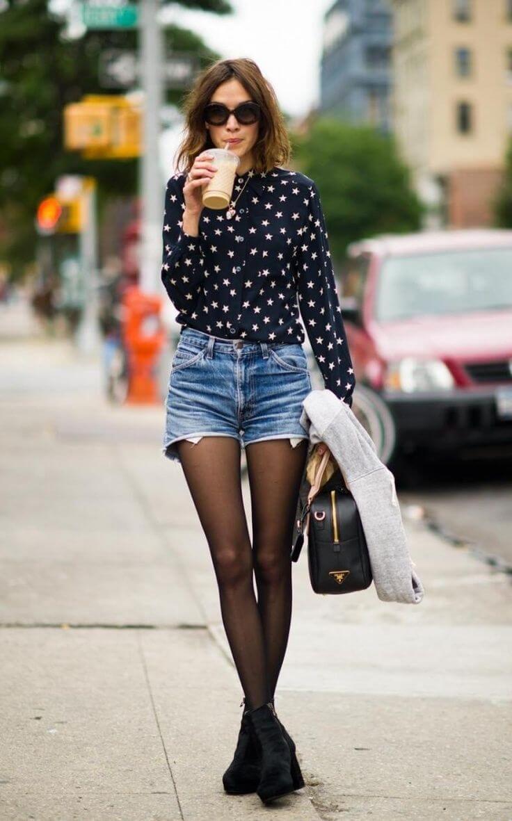 джинсовые шорты с черной рубашкой в звездочку