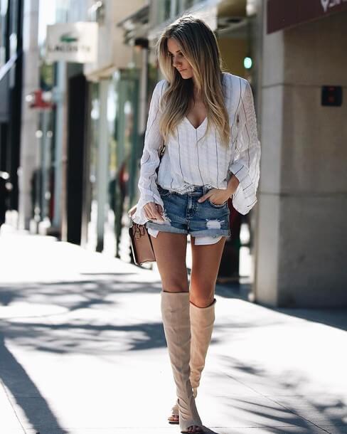 джинсовые шорты с белой рубашкой
