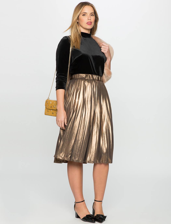 золотая юбка плиссе для полных с чем носить
