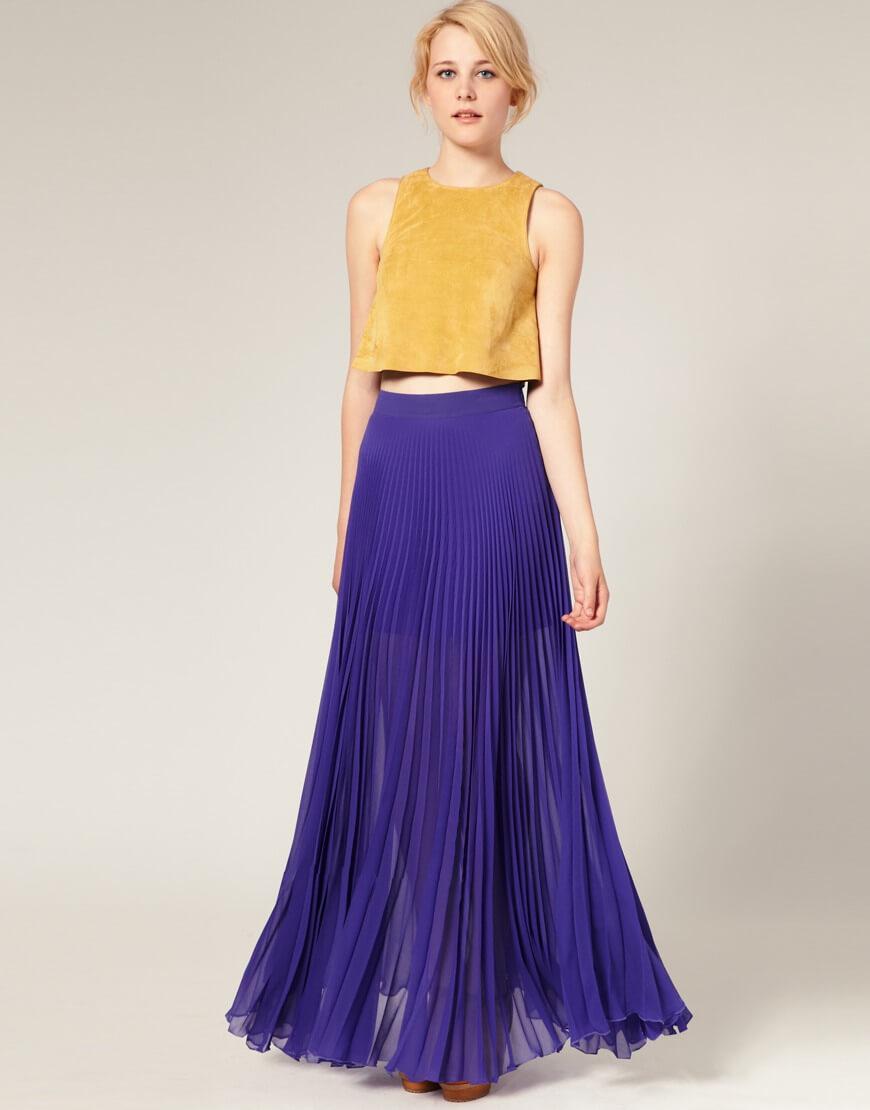 сиреневая юбка плиссе с желтой майкой с чем носить