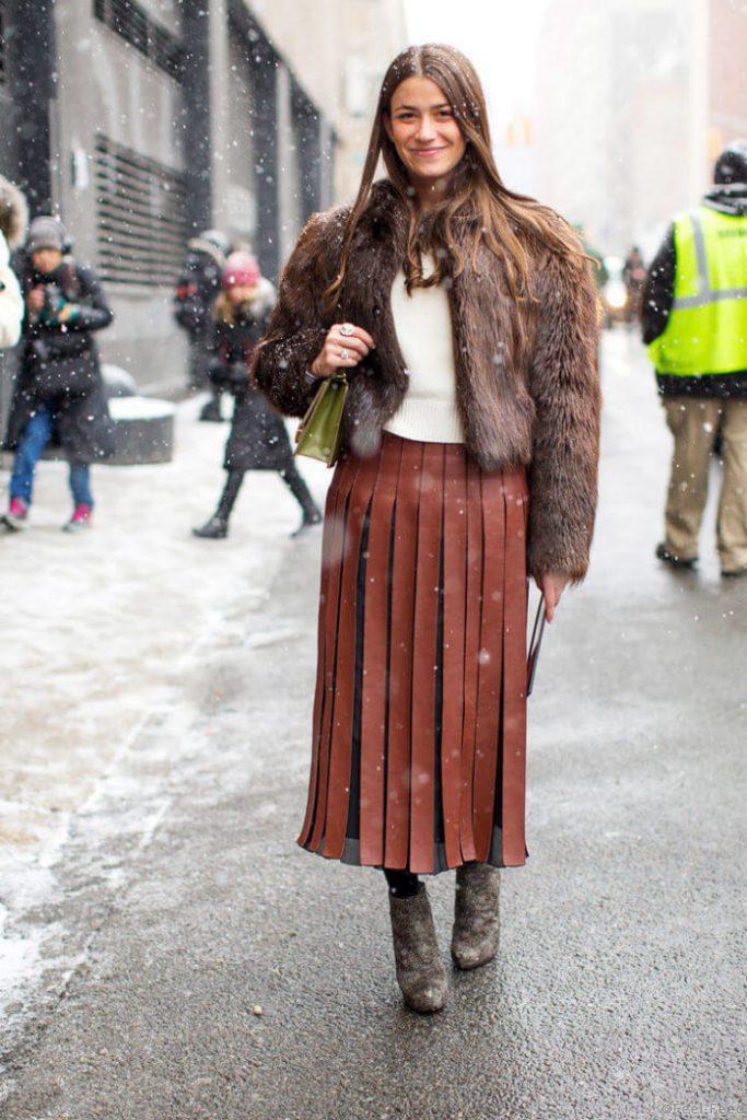 с чем носить юбку плиссе зимой
