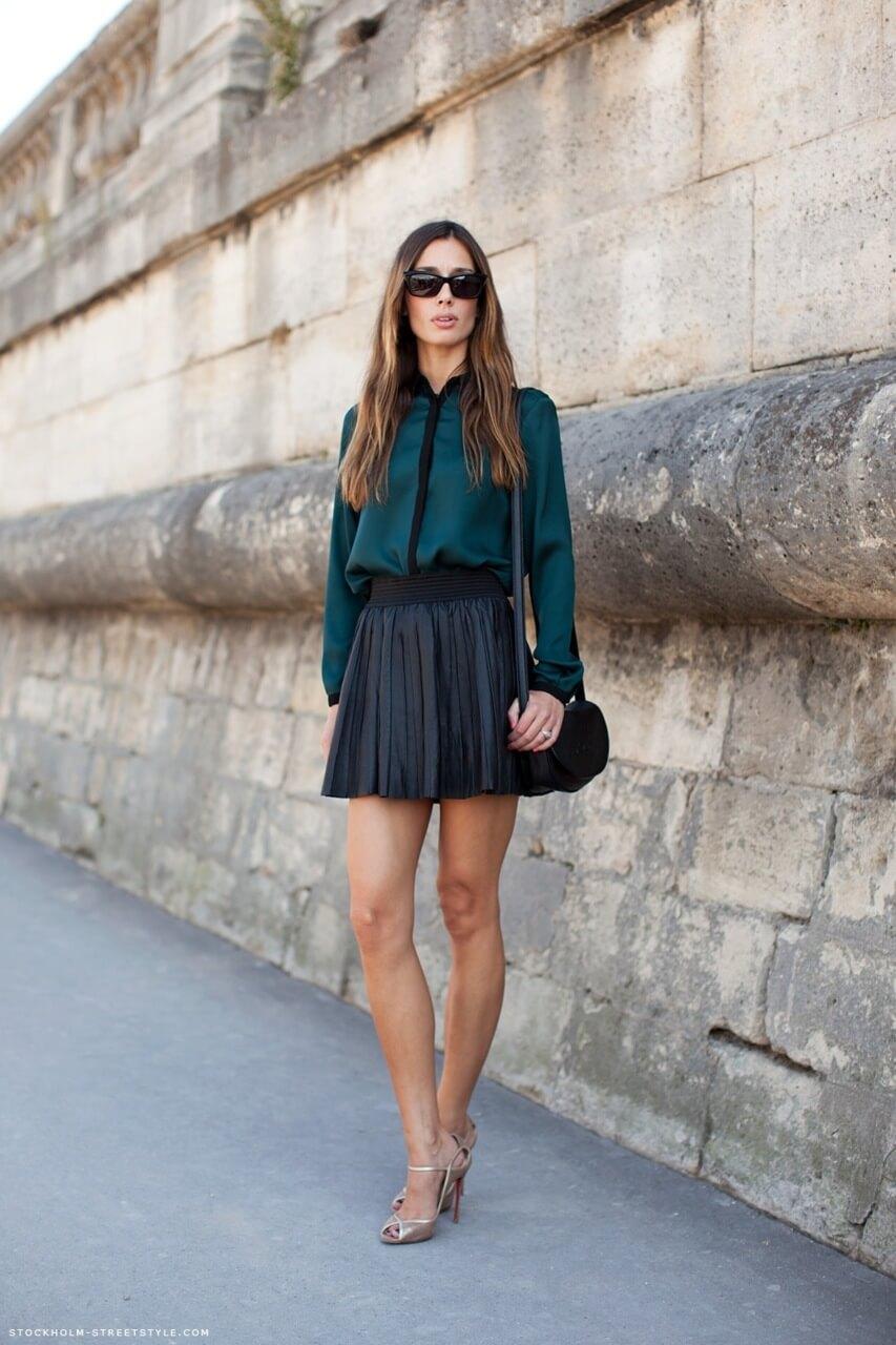 с чем носить юбку плиссе черную короткую