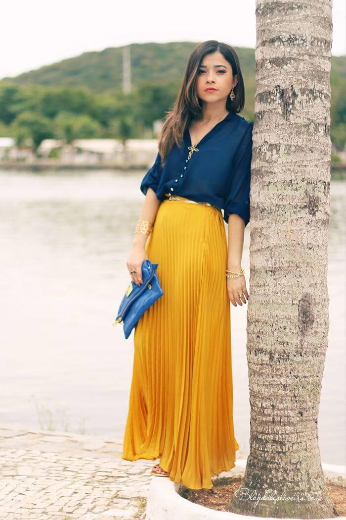 желтая юбка плиссе с джинсовой рубашкой с чем носить