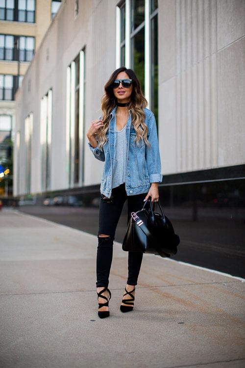 чокер с джинсовкой