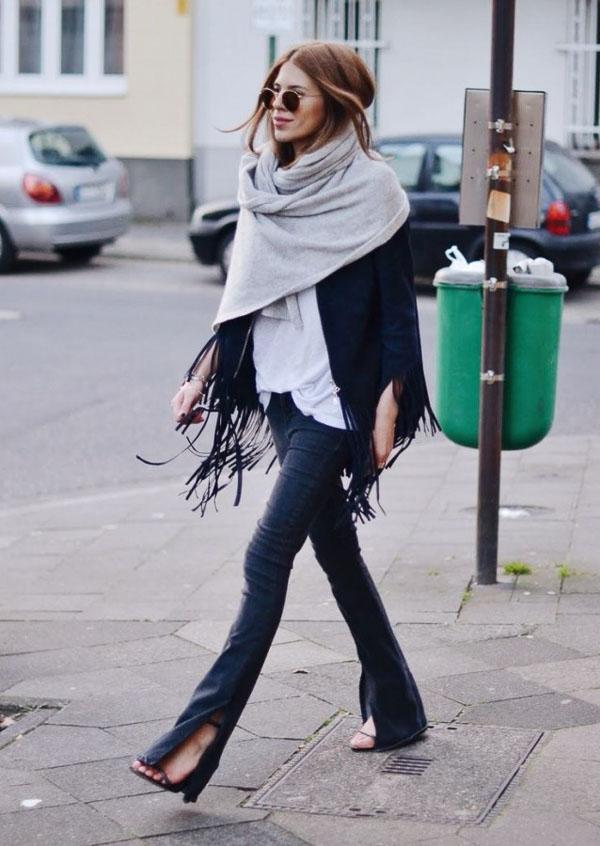 как носить длинный серый шарф