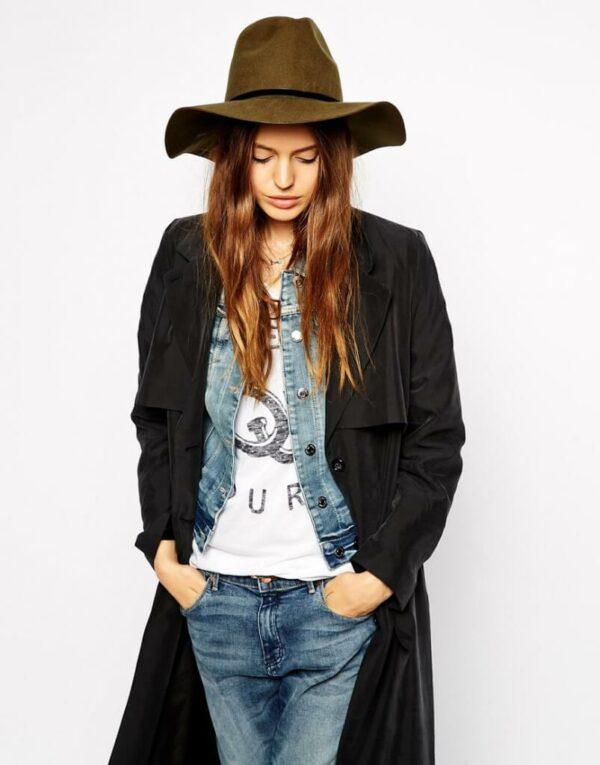 шляпа федорова с джинсами