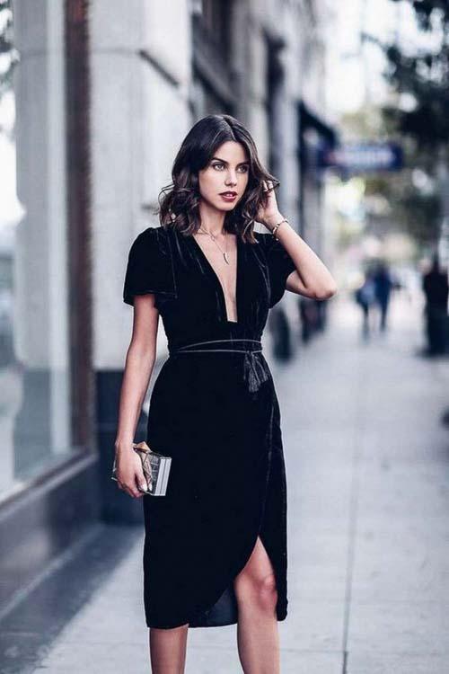 как носить черное бархатное платье