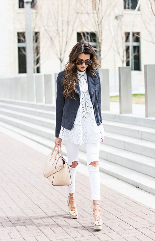 Белые рваные джинсы с пиджаком