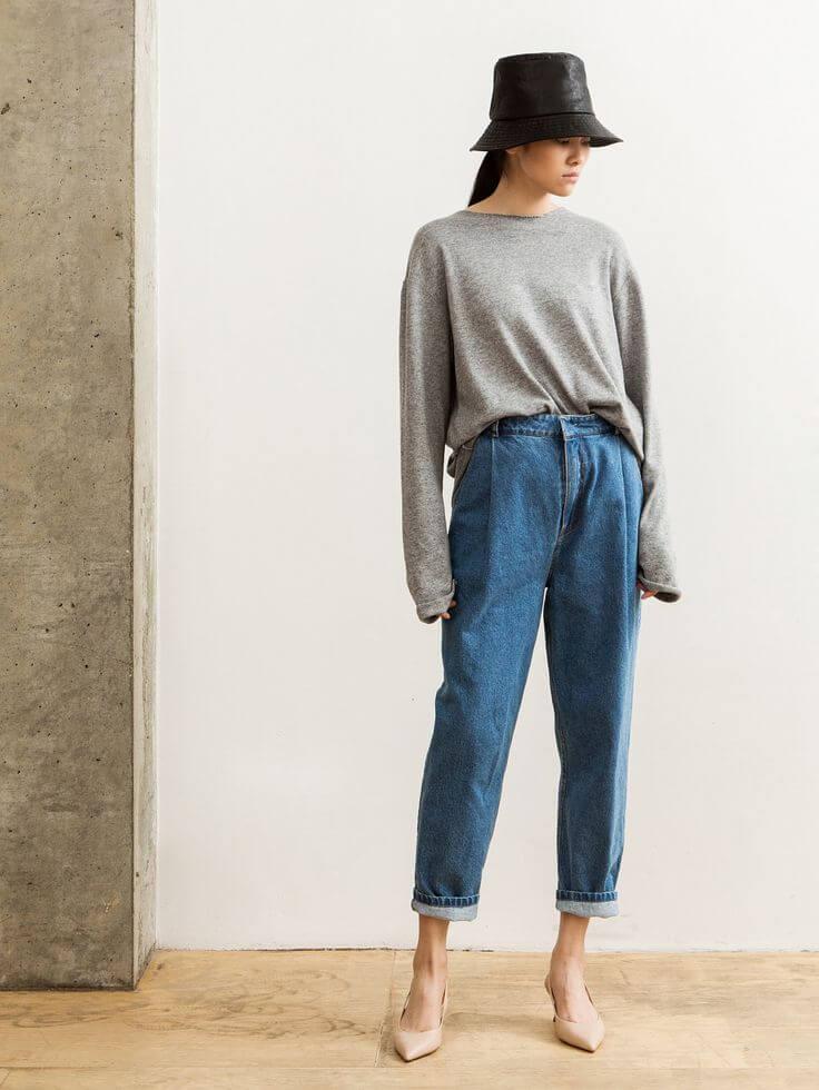 джинсы слоучи ШЛЯПА И СЕРЫЙ СВИТШОТ