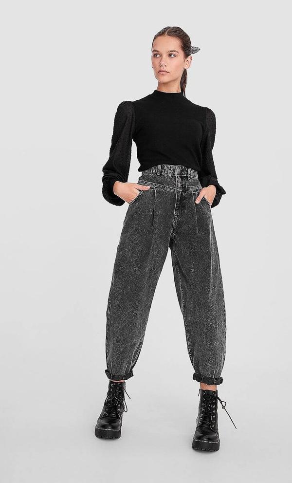 джинсы слоучи с черной водолзакой