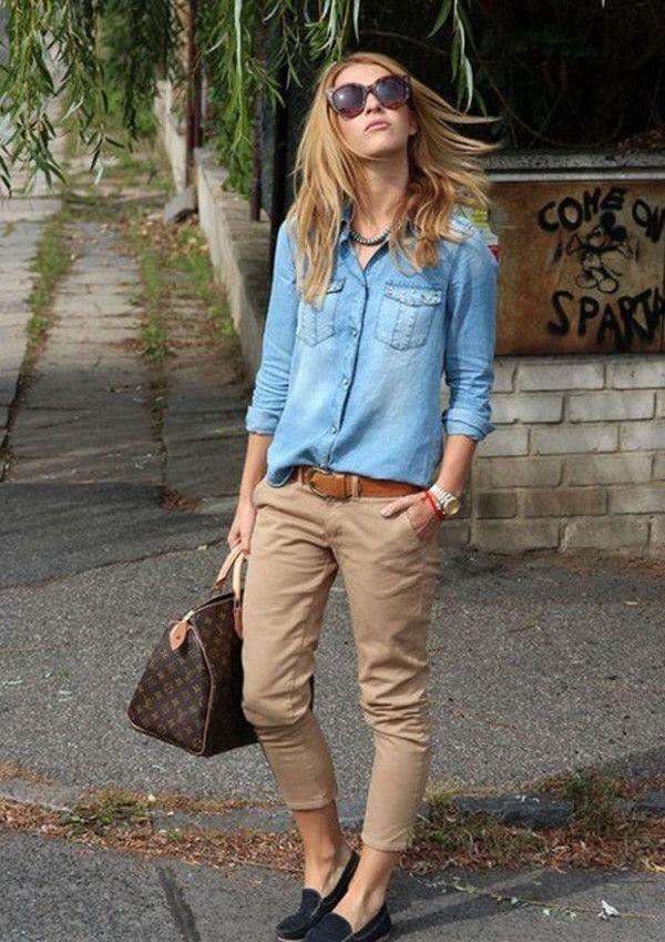 как носить брюки чинос с джинсовой рубашкой