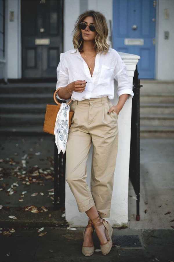 как носить брюки чинос с белой рубашкой