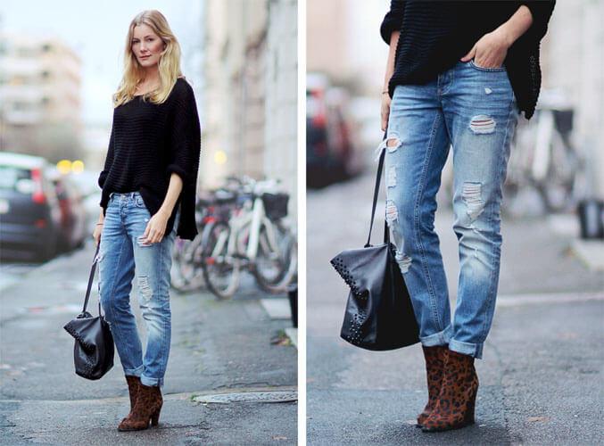 С чем носить широкие рваные джинсы с черным свитером