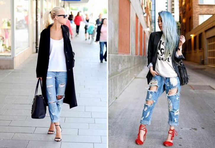 С чем носить широкие рваные джинсы с белой майкой