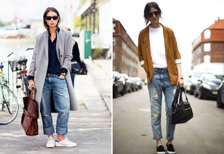 С чем носить широкие рваные джинсы с пиджаками