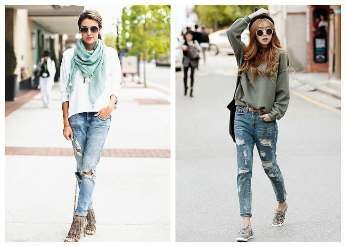 С чем носить широкие рваные джинсы с каблуками