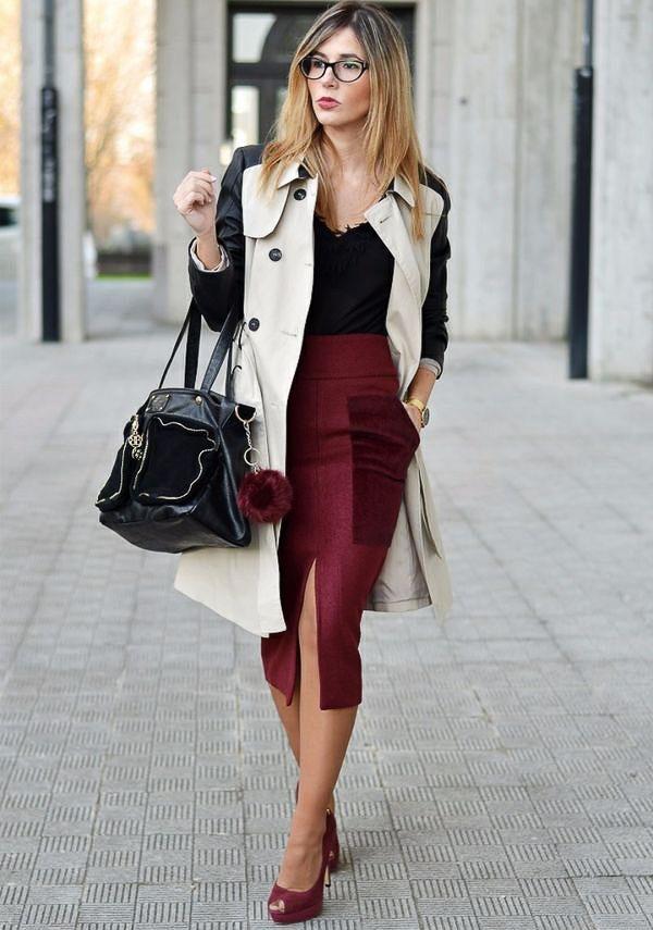 бордовая юбка с пальто