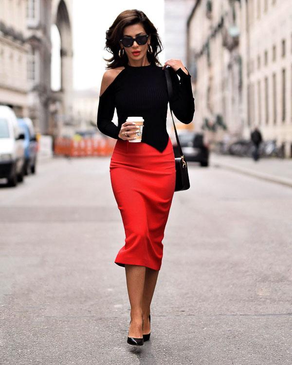 классическая красная юбка