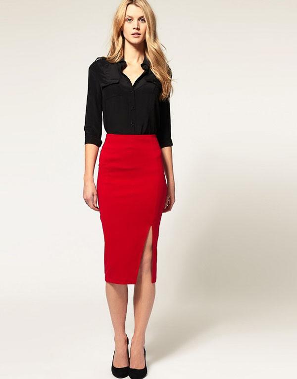 классическая красная юбка с черной рубашкой