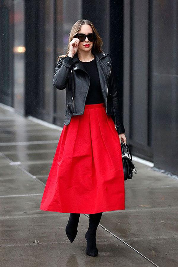красная юбка миди пышная