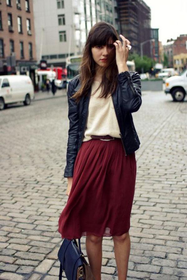 бордовая юбка плиссе