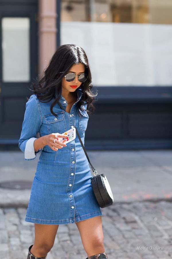 как носить платье рубашку джинсовую азия