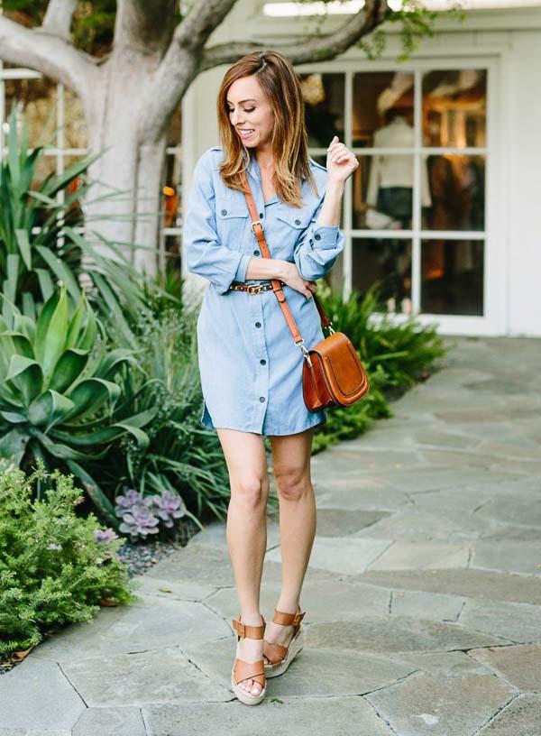 как носить платье рубашку джинсовую кожаная сумка