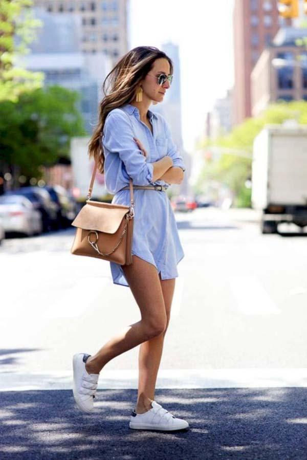 как носить платье рубашку джинсовую с кедами