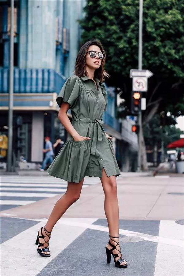 как носить платье рубашку зеленую