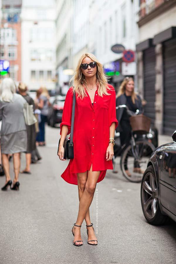 как носить платье рубашку красную