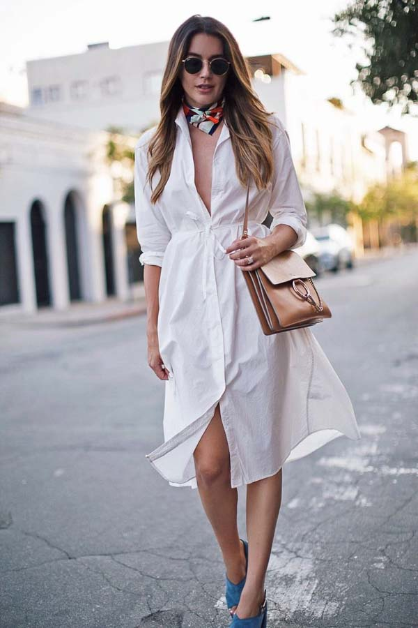 как носить платье рубашку ниже колена белое