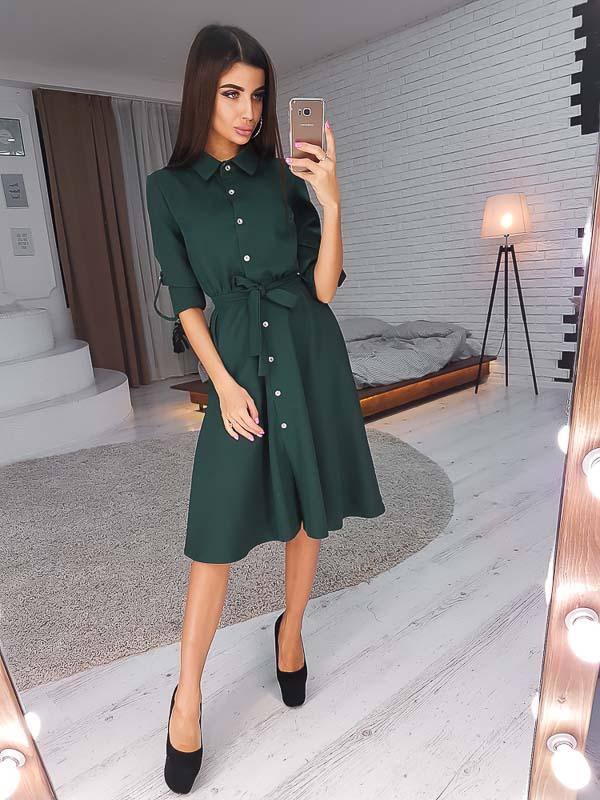 как носить платье рубашку ниже колена зеленое