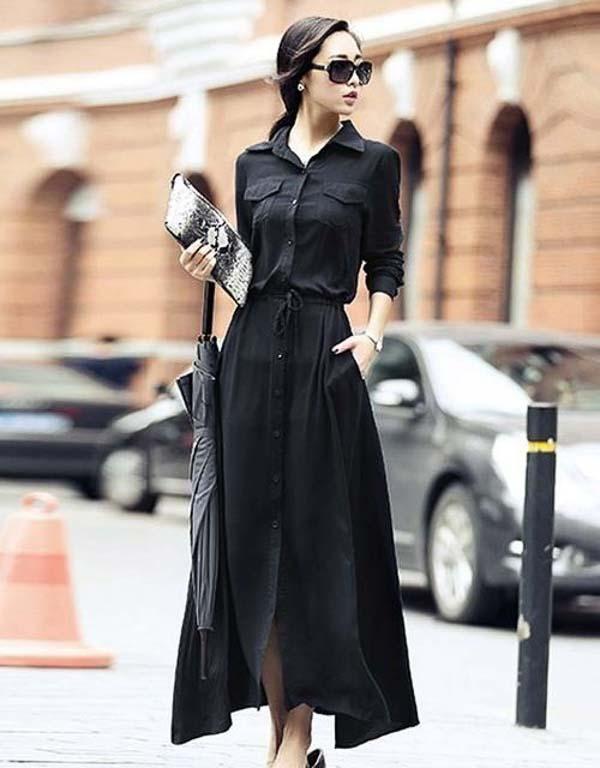 как носить платье рубашку ниже колена черную