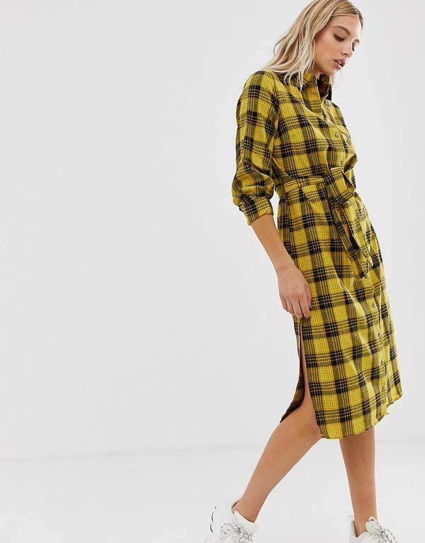 как носить платье рубашку в клетку желтую