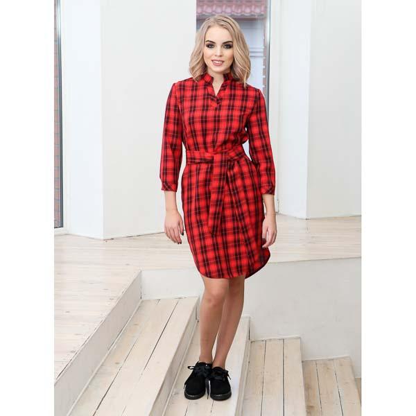 как носить платье рубашку в клетку красную
